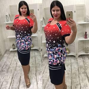 Платье короткое офисное с принтом У6832