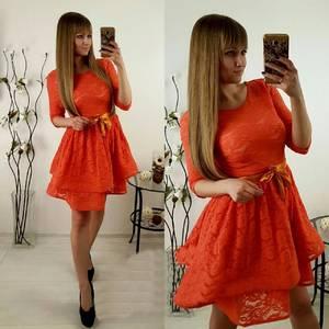 Платье короткое коктейльное красное П3038