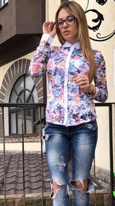 Рубашка с длинным рукавом с принтом П3888