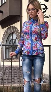 Рубашка с длинным рукавом с принтом П3889