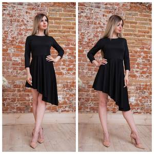 Платье короткое коктейльное черное Т7556