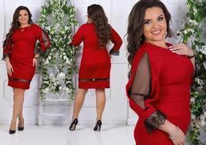 Платье короткое нарядное с кружевом Т7572