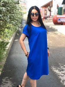 Платье короткое синее с коротким рукавом Т7593