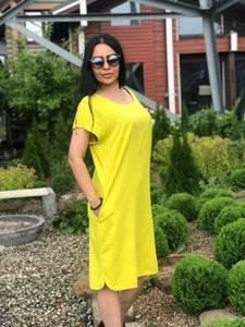 Платье короткое желтое с коротким рукавом Т7596