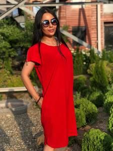 Платье короткое красное с коротким рукавом Т7597