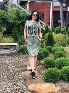 Платье короткое повседневное с принтом Т7707