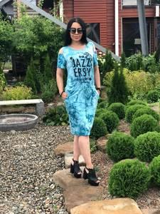 Платье короткое повседневное с принтом Т7708