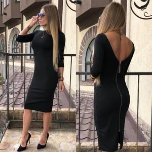 Платье короткое облегающее черное Т7614