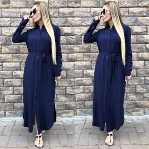 Платье рубашка длинное синее Т5130