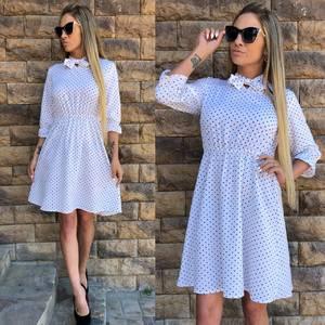 Платье короткое с принтом белое Т5235