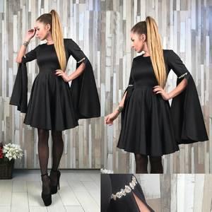 Платье короткое коктейльное черное Т2176