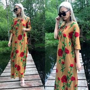 Платье длинное повседневное с принтом Т4570