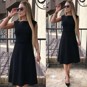 Платье длинное классическое черное Т4580