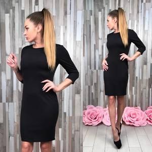 Платье короткое облегающее черное Т4991