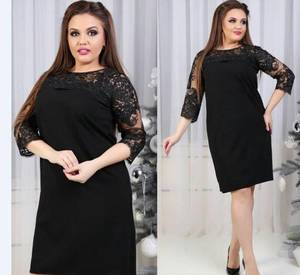 Платье короткое трикотажное черное Т5047