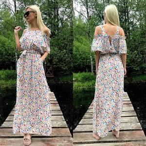 Платье длинное летнее с открытыми плечами Т4029