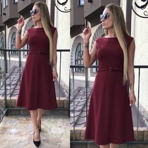 Платье длинное классическое красное Т4581