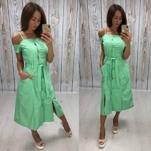 Платье длинное зеленое с открытыми плечами Т4879