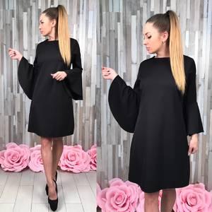 Платье короткое нарядное черное Т5006