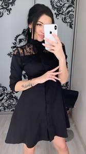 Платье короткое с рукавом 3/4 Ц3391