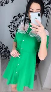 Платье короткое с рукавом 3/4 Ц3392