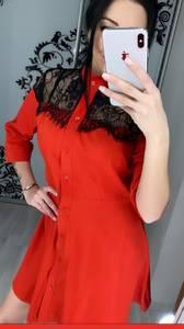 Платье короткое с рукавом 3/4 Ц3393