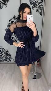 Платье короткое с рукавом 3/4 Ц3396