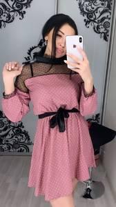 Платье короткое с рукавом 3/4 Ц3398