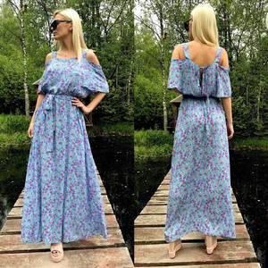 Платье длинное голубое с открытыми плечами Т4030