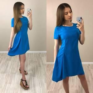 Платье короткое однотонное синее Т4038