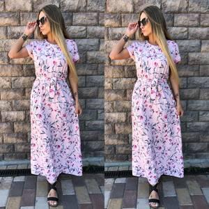 Платье длинное розовое с принтом Т4051