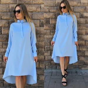 Платье короткое однотонное с длинным рукавом Т4217