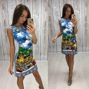 Платье короткое без рукавов с принтом Т4305