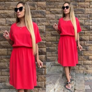 Платье короткое летнее красное Т4613