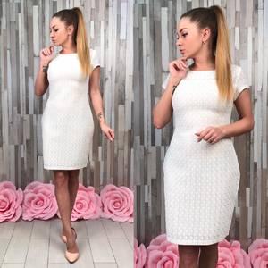 Платье короткое элегантное белое Т4938