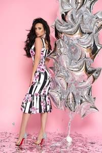 Платье длинное с принтом в полоску Т5230