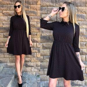 Платье короткое с принтом черное Т5237