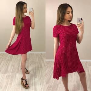 Платье короткое с принтом красное Т4039