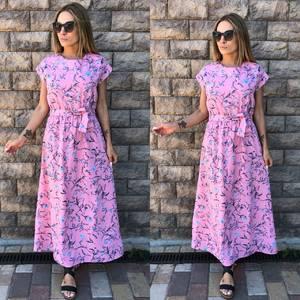 Платье длинное розовое с принтом Т4052