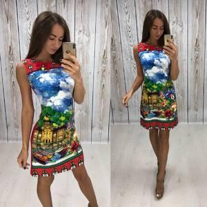 Платье короткое без рукавов с принтом Т4306