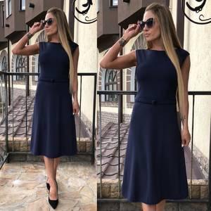 Платье длинное классическое синее Т4583