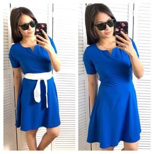 Платье короткое коктейльное синее Т4676
