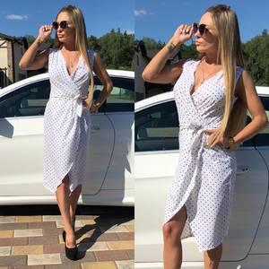 Платье короткое с принтом белое Т5676
