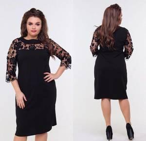 Платье короткое нарядное черное Ф8870