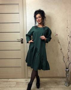 Платье короткое с длинным рукавом однотонное Ц2458