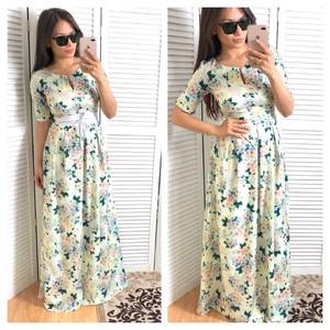 Платье длинное летнее с принтом Т4777