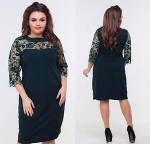 Платье короткое нарядное зеленое Ф8871