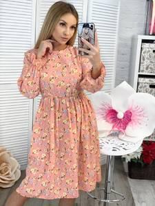Платье короткое с длинным рукавом с принтом Ц3377