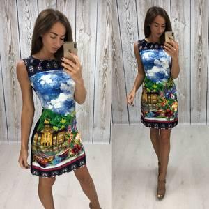 Платье короткое без рукавов с принтом Т4309