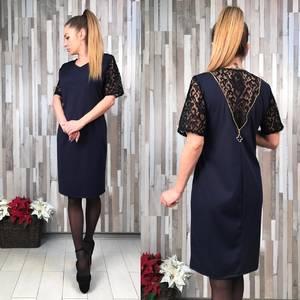 Платье короткое с кружевом Т4945